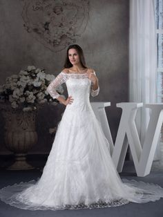 Three Quarter Sleeveed Lace and Satin Wedding Dress with Beads