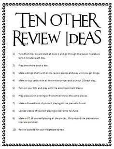 More Ideas for Review