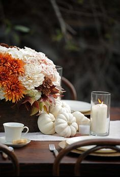 dahlias, mums and roses for fall centerpiece with little white pumpkins