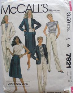 Jones New York Sewing Pattern - Lined Jacket, Pullover Top, Pleated Skirt and Pants - McCall's 7921 - Size 14, Bust 36 by Shelleyville on Etsy