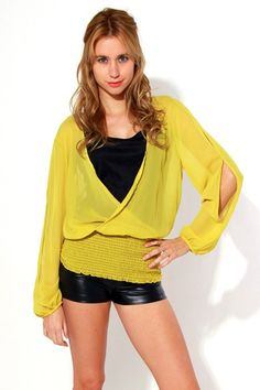 #1015store.com #fashion #style plus size open sleeve chiffon tunic top-yellow-$15.00