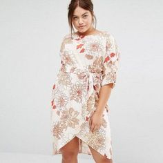 a73c0657 Floral Asymmetric Split Dress. Plus Size Fashion For WomenPlus Size Womens  ClothingFashion ...