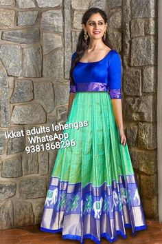 Ikkat lehenga Available in Stock For more details contact me in WhatsApp at Half Saree Designs, Silk Saree Blouse Designs, Lehenga Designs, Churidar Designs, Indian Gowns Dresses, Indian Fashion Dresses, Stylish Sarees, Stylish Dresses, Long Gown Design