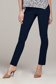 These pants wear like leggings but look sleek enough for work. Wear them long, or use the internal button to crop them for a more casual look
