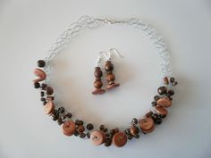 Wooden Bead Necklace & Earrings by JoTheGreek on Etsy. Wooden Bead Necklaces, Wooden Beads, Beaded Necklace, Craft Ideas, Clothes For Women, Trending Outfits, Unique Jewelry, Bracelets, Handmade Gifts