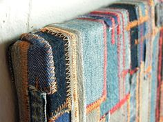 Make with my Dad's old jeans: recycled denim wall hanging