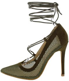 DETENTION OLIVE MESH POINTED TOE LACE UP HEEL $10.88