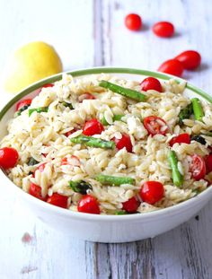 SUMMER ORZO SALAD WITH ASPARAGUS, CHERRY TOMATOES AND FETA + HEALTHY FOURTH OF JULY SIDE SALADS