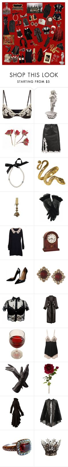 """""""Goth princess"""" by graceegatto ❤ liked on Polyvore featuring La Perla, Dolce&Gabbana, Alexander Wang, Lanvin, Howard Miller, Zuhair Murad, Christian Louboutin, Marchesa, Eberjey and Aspinal of London"""