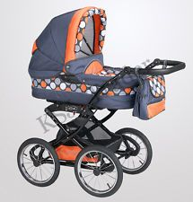 Polaris Retro 3 in 1 Pram Pushchair Stroller Travel System + Car Seat