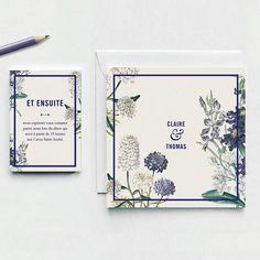 Einladung Heirat rustikalen Chic Muster blaue und von PepperAndJoy