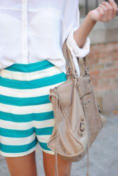 white blouse / aqua stripe