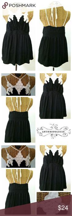 """Pins & Needles adorable top S Cute cute top by pins & Needles Black with off white straps and fab design Straps tie in back Elastic smock waist 14"""" unstretched  Underarm to underarm 15"""" unstretched  Top of shoulder to hem 28"""" Excellent condition Pins & Needles Tops Tank Tops"""