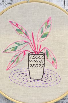 Plant hand embroidery pattern, embroidery plants #naiveneedle