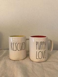 Rae Dunn LL RESCUED and PUPPY LOVE Mug Set #RaeDunn