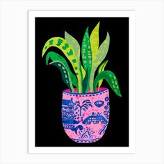 Wilow Pattern Plant Art Print by Amy Hastings - Fy Plant Art, Plant Illustration, Fine Art Prints, Things To Come, Vibrant, Wall Art, Plants, Pattern, Printers