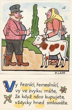 Kalamajka – Vy řezníci, řemeslníci, 1913 Naive, Folklore, Illustrators, The Past, Clip Art, Comics, Retro, Czech Republic, Pictures