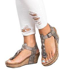 14b4f4afd357 Large Size Vintage Fashion Wedges Sandals