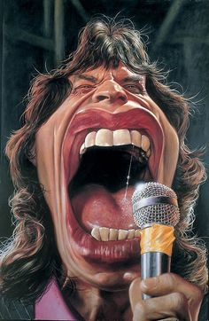 Mick Jagger by sebastian-kruger-paintings-caricatures Mick Jagger, Cartoon Faces, Funny Faces, Cartoon Art, Caricature Artist, Caricature Drawing, Funny Caricatures, Celebrity Caricatures, Sebastian Kruger