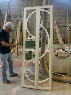 Porta a soffietto legno e vetro legnoeoltre.altervista.org Falegnameria Grelli Danilo