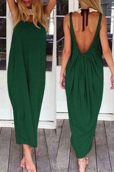 Casual Backless Solid Color Pleated Maxi Dress For Women