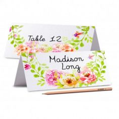 TENT CARDS Printed Place Cards Floral Wedding Place Card Peony Place card Editable Wedding Name Cards Food Labels Cards Wedding Wedding Name Cards, Tent Cards, Food Labels, Peony, Floral Wedding, Prints, Peonies