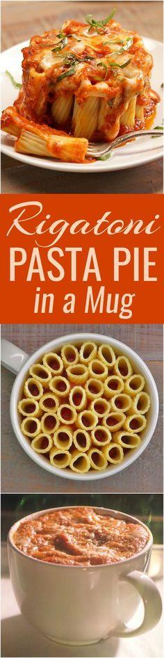 You can make these eye-catching mini rigatoni pasta pies in a coffee mug. Just rigatoni pasta, melted mozzarella cheese, marinara sauce, and fresh basil.
