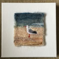 Needle felted scene mounted on a stretched canvas Needle Felted Animals, Felt Animals, Felt Fabric, Fabric Art, Felt Pictures, Felted Wool Crafts, Needle Felting Tutorials, Wool Art, Felt Birds