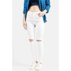 Topshop Moto 'Jamie' Busted Skinny Jeans ($75) ❤ liked on Polyvore featuring jeans, white, grunge jeans, skinny jeans, topshop, white skinny leg jeans and relaxed fit jeans