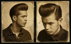 Classic Pompadour with long fenders on the sides. Klassischer Pompadour mit langen Kotflügeln an d 1950s Mens Hairstyles, Quiff Hairstyles, Classic Hairstyles, Vintage Hairstyles, Greaser Hairstyle, Barber Haircuts, Hot Haircuts, Rockabilly Updo, Modern Pompadour