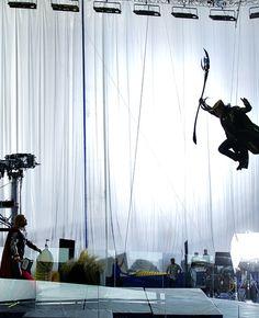 "Chris Hemsworth as Thor and Tom Hiddleston as Loki on Marvel's ""The Avengers"" set."