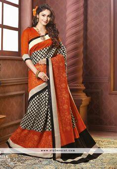 Adorable Orange And Black Color Thappa Silk Party Wear Saree