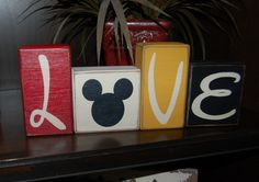 LOVE Mickey Mouse Disney Primitive Letter Distressed Sign Blocks Wedding Home Decor by SimpleBlockSayings on Etsy https://www.etsy.com/listing/223989138/love-mickey-mouse-disney-primitive