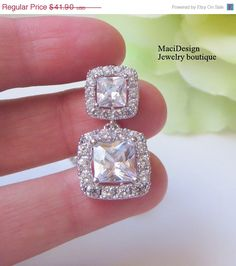 Bridal Event 10 OFF AAA Princess Emerald Cut Clear by MaciDesign, $37.71