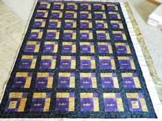 "I got this quilt top in from a lady who made a ""crown royal bag"" quilt.This was her first quilt and really had a great idea. It was ma. Crown Royal Quilt, Crown Royal Bags, Quilting Projects, Quilting Designs, Quilting Ideas, Sewing Projects, Crafty Projects, Sewing Ideas, Make A Crown"