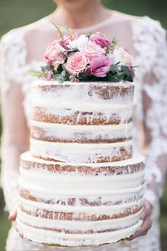Rustic naked cake with fresh pink flower topper | Kaitlin Maree Photography