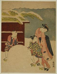 Suzuki Harunobu 鈴木 春信  Japanese, 1725 (?)-1770, Making a Giant Snowball