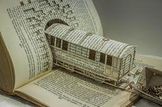 paper crafts and artworks, carved of books sculptures
