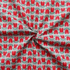 100% Baumwoll Popeline bedruckt  Tulpen  Farbe Grau-Rot