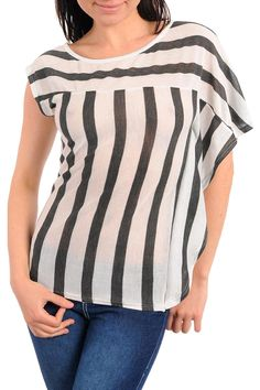 Eye Catching White & Gray Striped Asymmetrical Sleeve Top