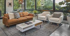 Dakota Tan Nirvana 3 Seater Leather Industrial Sofa | Article