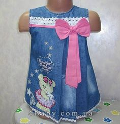 Kids Outfits Girls, Toddler Outfits, Girl Outfits, Little Girl Dresses, Girls Dresses, Flower Girl Dresses, Baby Dress Pattern Free, Dress Anak, Jeans Dress