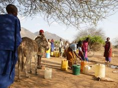 Collecting and distributing water in plastic containers