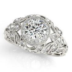 Diamond Accented Halo Engagement Ring in 14k White Gold (1.20ct)-Allurez.com
