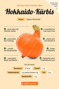 How healthy is the skin of pumpkin Wie gesund ist die Schale von Kürbis wirklich? Hokkaido Pumpkin: Knowledge and Recipes EAT SMARTER - Diet And Nutrition, Nutrition Education, Nutrition Guide, Holistic Nutrition, Pumpkin Nutrition Facts, Banana Nutrition, Smart Nutrition, Complete Nutrition, Nutrition Shakes
