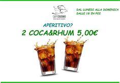 Continue novità a Caffè Duomo.. A partire da domani promo aperitivo, 2 Coca&Rhum a soli  € 5.00  #soloacaffeduomo #carpi #aperitivo #happyhour #like #instagood #cocarhum #instalike #like4like #drinks