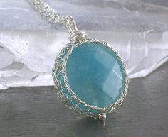 Angelite Necklace, Sterling Silver Wire Crochet Stone Pendant on Etsy, £30.94