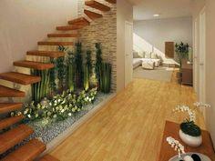 Under Staircase Ideas, Space Under Stairs, Floating Staircase, Small Garden Under Stairs, Tile Stairs, Basement Stairs, Pebble Garden, Garden Stairs, Balcony Garden