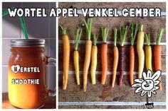 """Smoothie met wortel - Naast wortelen gaan er ook een aantal appelen en nog wat andere power ingrediënten in deze """"herstel smoothie"""". Hij is zo gemaakt en.."""