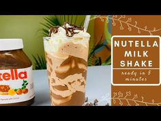 Nutella MilkShake - Hameesha Nutella Milkshake, Milkshake Recipes, How To Make Nutella, Whipped Cream, Ice Cream, Iced Latte, Latte Recipe, Summer Treats, Gelato